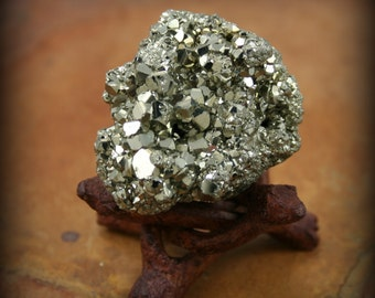 Large Pyrite Specimen - fool's gold - wooden stand available - Peruvian top grade