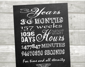 3 year anniversary printable: minutes, hours, seconds, days, years, lds