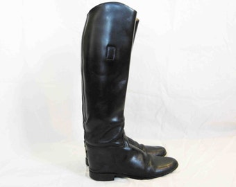 Vintage Black Leather Riding Boot, Woman's 8 narrow
