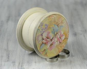 Ring Bearer Box, Wedding Ring Bearer Pillow, pastel flowers round Box , Pillow Alternative, proposal ring box