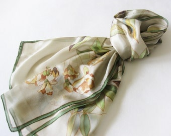 Long silk scarf, handmade silk scarfs, botanical scarf, women scarves, silk art accessory, beige green shawl - made TO ORDER