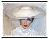 Gorgeous Wide Brimmed Hat- White Wool Vintage Hat by Karen and Lynn Exclusive-  H-050a-111713015