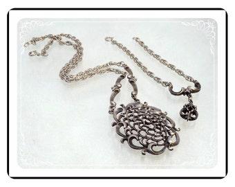 Bracelet & Necklace Set  -  Vintage Pewter Tone Abstract  - Demi-1728a-121012000
