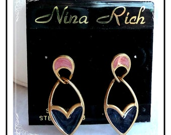 Old Store Stock Nina Rich Polkadot Pierced Earrings - E250a-052212000