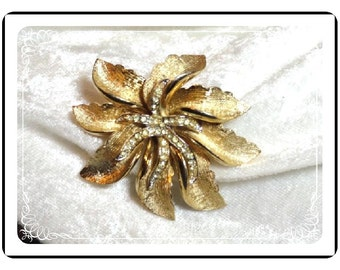 Coro Signed Flower Brooch - with Frosty Glitz Pin-1067a-012312000