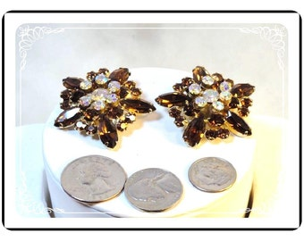 Vintage Juliana Earrings - Floral Amber w Raised AB Rhinestones   D&E 043a-090412031