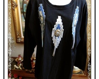 Yee Haw Shirt - Vintage Black w White and Blue plus Concho's by Susan Christopher -CLO-125a-041814005