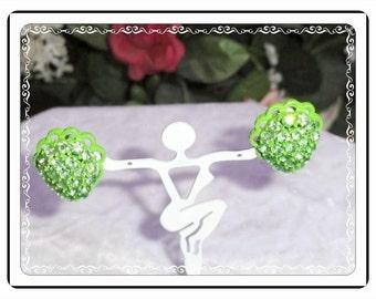 Vintage Rhinestone Earrings - Lush Lime Green Rhinestone  Clip on's - E496a-071714002