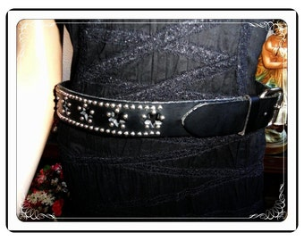 Biker Babe Belt -  Black Silver Sudded Leather  - Belt-3250a-112113001