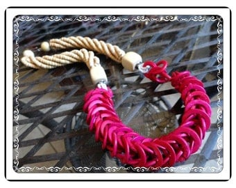 Hot Pink  Necklace - Vintage Large Chunky Multi Strand Natural and  Hot Pink   Neck-1745a-052114005