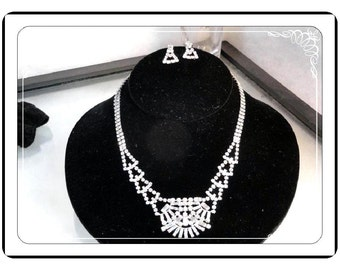 Sterling Jayflex Set  - Rhinestone Necklace and Earrings Set by JayFlex - Drippy & Clear Rhinestones  Demi-1506a-051713000
