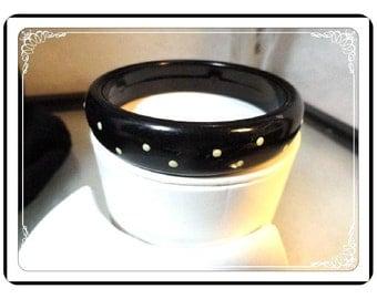 Polka Dot Bangle - Nifty Black and White Polka Dot Vintage Bangle  Bracelet  -  Brac-1190a-112413001