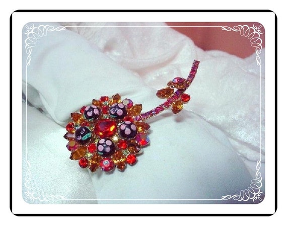 Juliana Flower Brooch Accented with Delicious Colorful Sugar Beads  Pin-750a-011609045