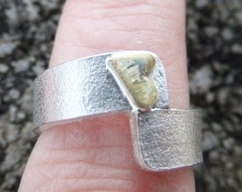 Brass heart sterling silver ring, Heart ring, sterling silver band ring, satin finish, men's ring, gift for her,  mother's day gift. Rings
