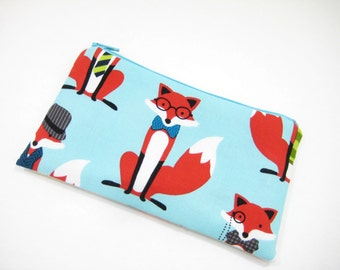 Fox Cosmetic Bag, Zippered Pouch, Foxy Pouch, Aqua Gadget Accessory