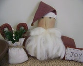 Set of 3 Primitive Santa, Sack, And Pillow Cupboard Doll Vignette Christmas Decor