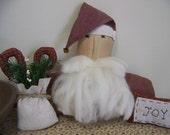 Set of 3 Primitive Santa, Sack, And Pillow Cupboard Doll Vignette Christmas Decor