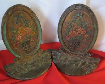 Antique Victorian  Cast Metal Polychrome Bookends Floral Design