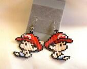 Pixel Baby Mario Earrings Yoshi's Island Handmade Bead