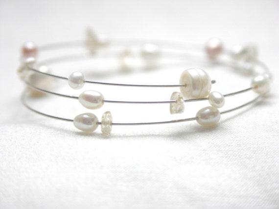 Brautschmuck armband perlen Armband Spiralarmband Perlen Armreif weisse Süsswasserperlen