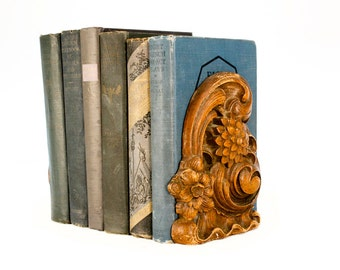 Vintage Carved Wooden Bookends Syroco Wood // Dahlia Flower Acanthus Leaves // Syracuse NY