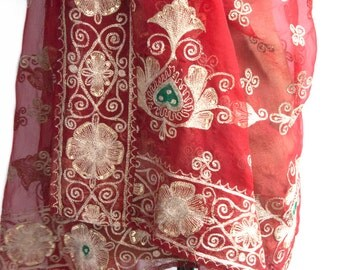 Red Embroidered Organza Shawl, Indian Sari Wedding Saree, Bollywood Party Wear, Vintage Indian Sari, Table Cover Oriental Fabric, Home Decor
