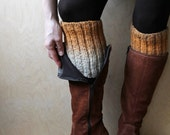 Ready  to ship!! Grey Beige Mustard Ombre knitted Leg Warmers  Cable knitted Leg Warmers  Boot cuffs  Ankle  boots