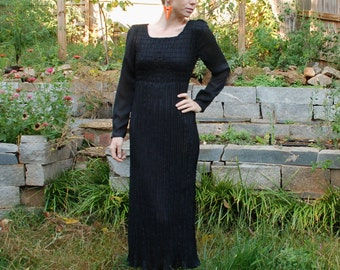 SALE sheer xs polyester black womens long maxi dress with elastic waist