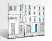 The magic door - Paris Canvas print Ready to hang Art Home decor Wall decor Wedding gift ideas Living room decor Turquoise Blue White Facade