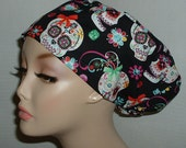 Halloween Sugar Skulls Gems Ribbons European OR Scrub hat