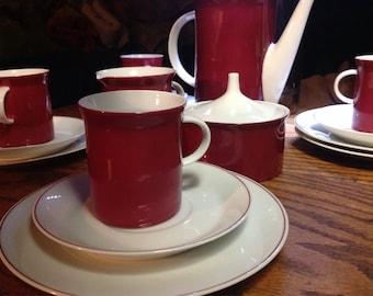 Rosenthal Secunda Tea / Luncheon Set German China Burgandy Red