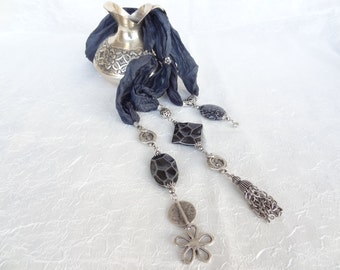 Dark Grey Jewelry Scarf, Scarf Necklace,  Silver  Necklace , Turkish Silk Necklace, Valentine's, OOAK Feminine, Gift for Her