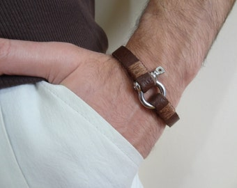 Men's Chocolate Brown Leather Bracelet, Men's Jewelry, Crome Screw Clasp Bracelet, Men's Cuff Bracelet, Valentine's Gifts