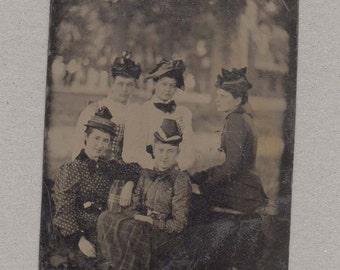 Interestingly Posed Outdoor Tintype of Five Ladies