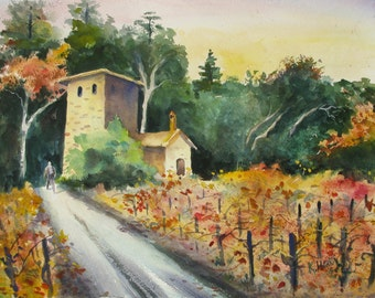 Original Watercolor / Napa Vineyard
