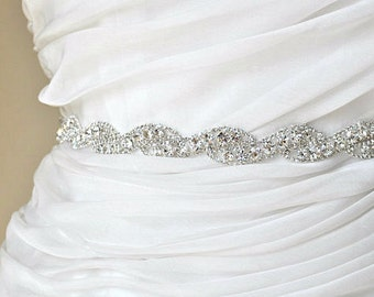 Rhinestone encrusted bridal belt, Crystal Belt, Bridal Sash