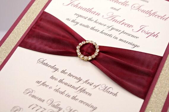 Burgundy And Gold Wedding Invitations: Stunning Cranberry/Burgundy & Gold Glitter Wedding By
