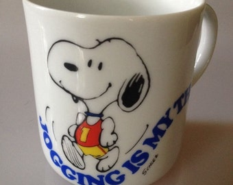 Vintage Snoopy Peanuts Jogging Is My Thing ceramic Coffee Cup Mug woodstock 1965