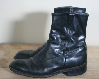 vintage men's black leather ankle beatle boots size 8DB