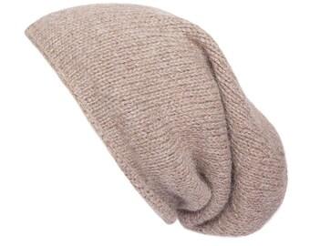 Oatmeal Alpaca Slouchy beanie, hand knitted, 8 colours