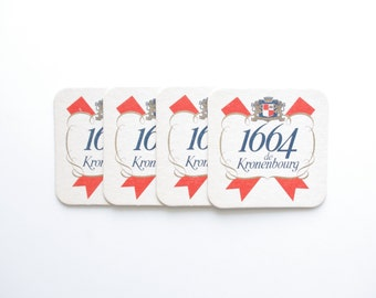 Vintage Kronenbourg Beer Coasters - Set of 4 - Vintage Beer Advertising, Vintage Bar