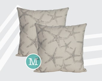 Coastal Grey Starfish Pillow Covers Shams - 20 x 20 and More Sizes - Zipper Closure