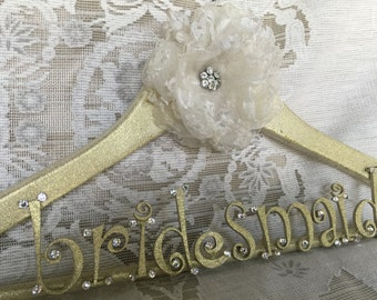 custom bridesmaid dress hanger with flower bridesmaid gift