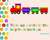 Train up a child 11x14 art PRINT for kids, Wall Art for Train or Transportation theme nursery, Bible verse Proverbs 22:6