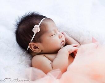 Newborn heart headband, pearl headband, vintage baby headband, ivory pearl headband, vintage baby photo prop, pearl photography prop, baby