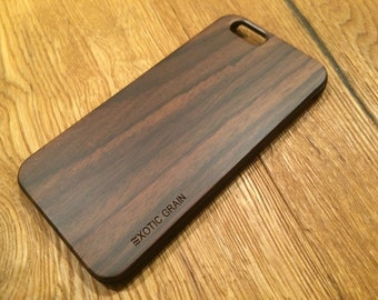 WOOD IPHONE 6 case , real wood rich polished EXOTIC bois de rose  ,sharp looking black  edge