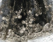 black Lace Fabric, Embroidered Lace fabric, black lace with gold embroidered poppy floral