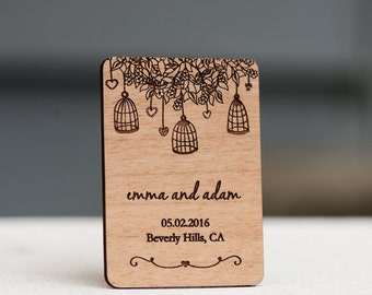 10+ Rustic Birdcage Save the Date Magnets - Wedding Favors - Gift Tags - Laser cut and Etched on Wood