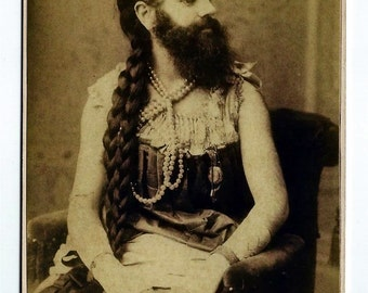 Bearded Woman Sideshow Cabinet Card Photograph Reproduction Annie Jones