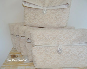 SET of 9 Foldover Lace Clutches